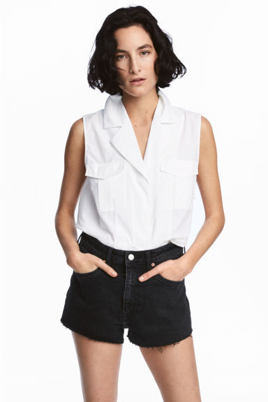 Denim short - High waist - Nearly black - DAMES | H&M NL