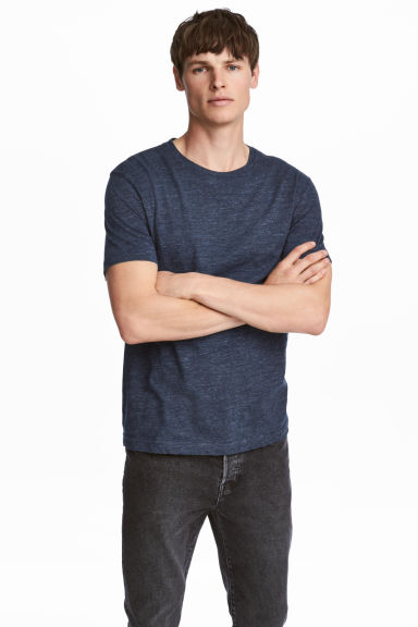 Round-neck T-shirt Regular fit - Dark blue marl - Men | H&M CN 1