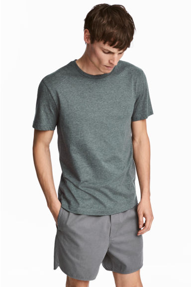 合身圓領T恤 - Grey green - Men | H&M 1