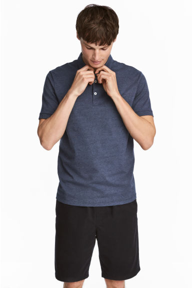 Polo shirt Slim Fit - Dark blue/Narrow striped - Men | H&M CN 1