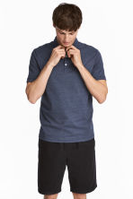 Polo shirt Slim Fit - Dark blue/Narrow striped - Men | H&M 1