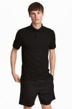 Polo shirt Slim Fit - Black - Men | H&M CA 1