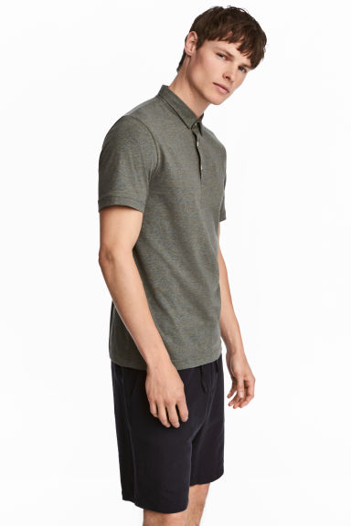 Polo shirt Slim Fit - Khaki marl - Men | H&M