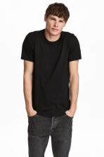 Round-necked T-shirt Slim fit - Black - Men | H&M CN 1