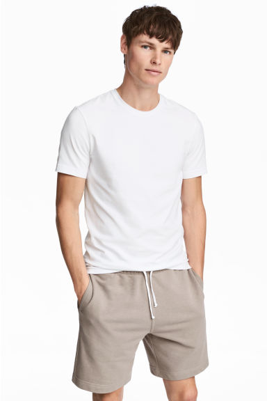 Round-necked T-shirt Slim fit - White -  | H&M CN