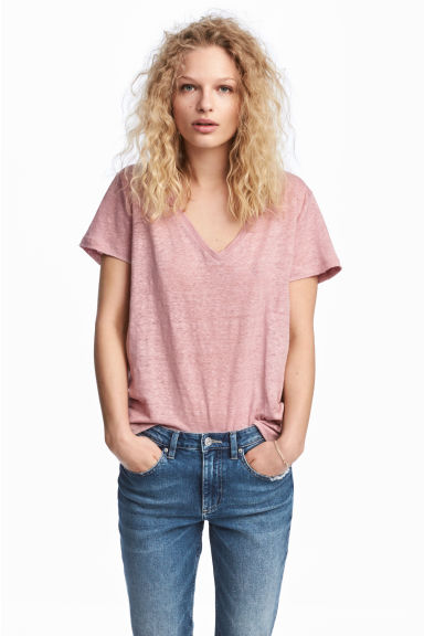 Linen top - Light pink - Ladies | H&M CN 1