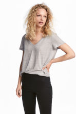 Linen top - Light grey -  | H&M 1