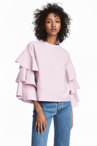 Top with tiered sleeves - Light pink -  | H&M CA 1