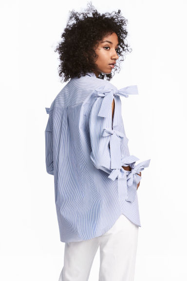 Shirt with ties - Blue/White/Striped - Ladies | H&M CN 1
