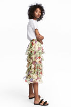 Frilled chiffon skirt - Light yellow/Floral - Ladies | H&M IE 1
