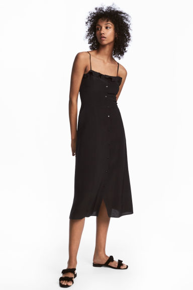 Frilled dress - Black -  | H&M