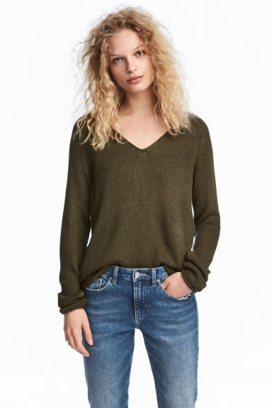 Pullover a punto largo - Verde kaki -  | H&M IT