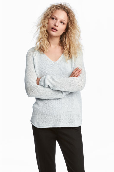 Loose-knit jumper - Light blue-grey - Ladies | H&M CA 1