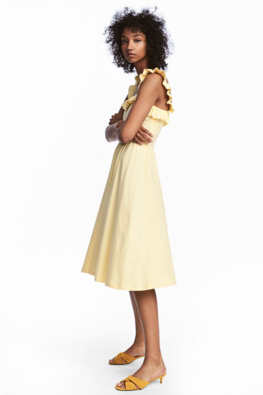 Frilled dress - Light yellow -  | H&M