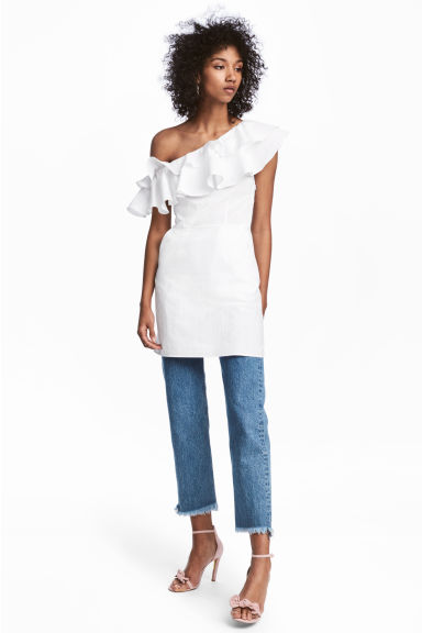 One shoulder-klänning i bomull - Vit - Ladies | H&M FI 1