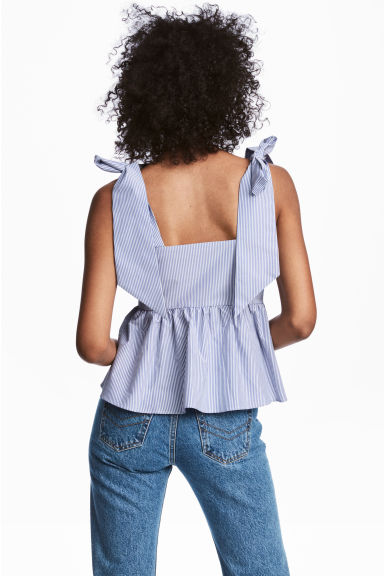 Flounced top - Blue/White/Striped - Ladies | H&M CN 1