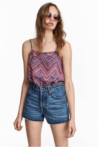Viscose strappy top - Pink/Patterned -  | H&M 1