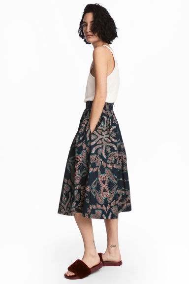 Patterned cotton skirt - Dark blue/Patterned - Ladies | H&M 1