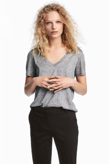 V領上衣 - Grey marl - Ladies | H&M