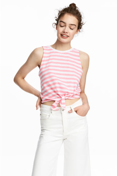 Tie vest top - White/Pink striped - Ladies | H&M 1