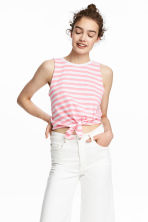 綁帶背心上衣 - White/Pink striped - Ladies | H&M 1