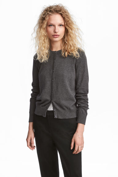 Cardigan in cotone - Grigio scuro mélange - DONNA | H&M IT