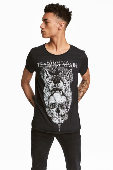 T-shirt with a print - Black/Skull - Men | H&M