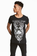 T-shirt with a print - Black/Skull - Men | H&M 1