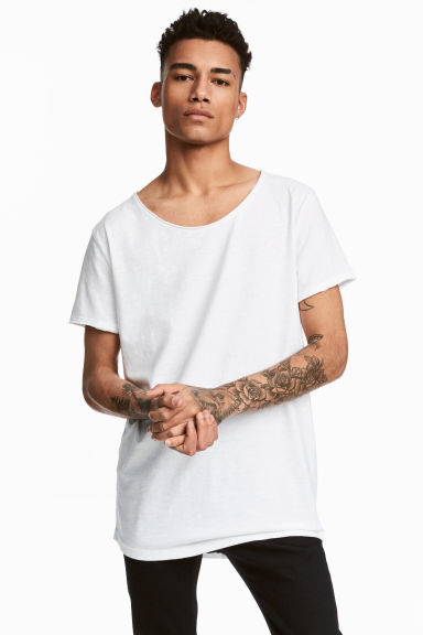 Raw-edge T-shirt - White - Men | H&M CA 1