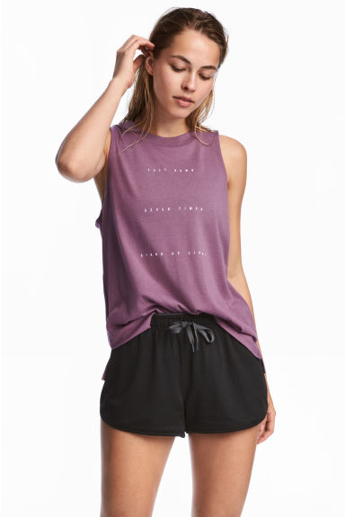 Sleeveless sports top - Lavender -  | H&M CN 1