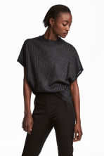 Glittery rib-knit top - Black - Ladies | H&M 1