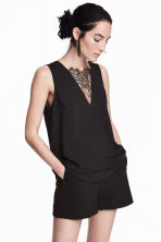 V-neck blouse with lace - Black - Ladies | H&M 1