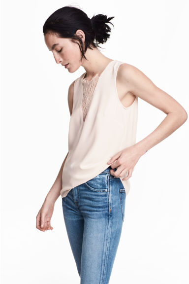 V-neck blouse with lace - Light beige - Ladies | H&M CN 1