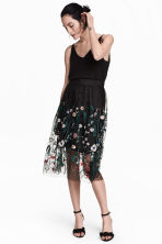 Embroidered mesh skirt - Black/Floral -  | H&M CA 1