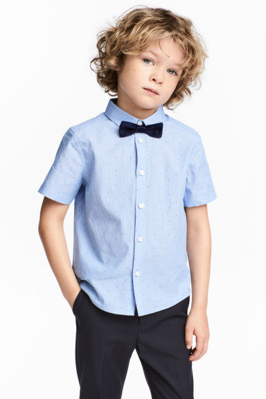 配領結短袖襯衫 - Light blue/Striped - Kids | H&M