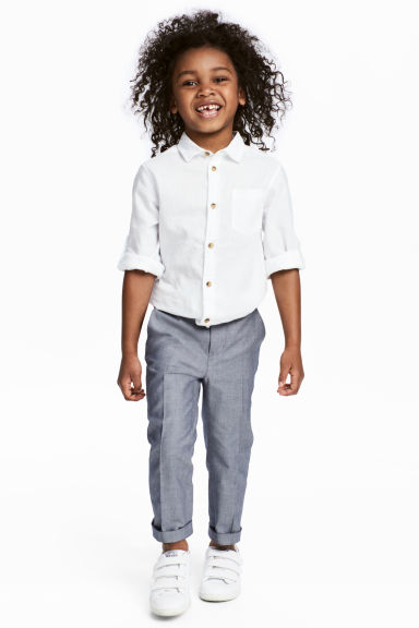 Cotton suit trousers - Dark blue/White - Kids | H&M CA 1