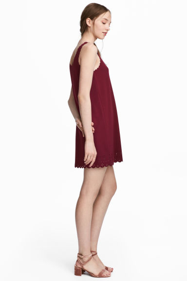 縐紗洋裝 - Burgundy - Ladies | H&M 1