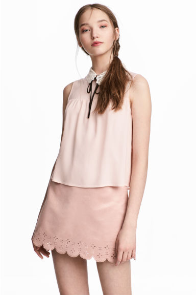 Lace-collar blouse - Powder pink - Ladies | H&M CN