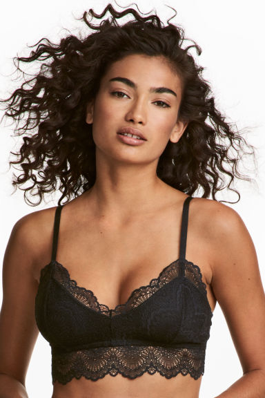 Non-wired lace bra - Black - Ladies | H&M CN