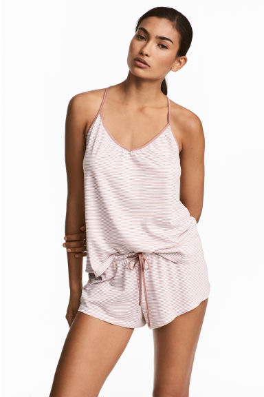 Pyjamas with cami and shorts - White/Striped - Ladies | H&M 1