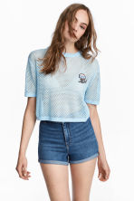 Short mesh top - Light blue - Ladies | H&M CN 1