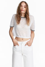 Short mesh top - White - Ladies | H&M CN 1