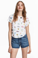 Printed jersey top - White/Palms - Ladies | H&M 1