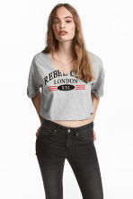 Crop top - Grijs gemêleerd - DAMES | H&M BE 1