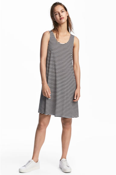 A-line jersey dress - White/Striped - Ladies | H&M