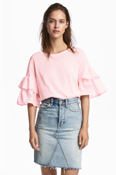 Jersey flounce-sleeved top - Light pink - Ladies | H&M 1