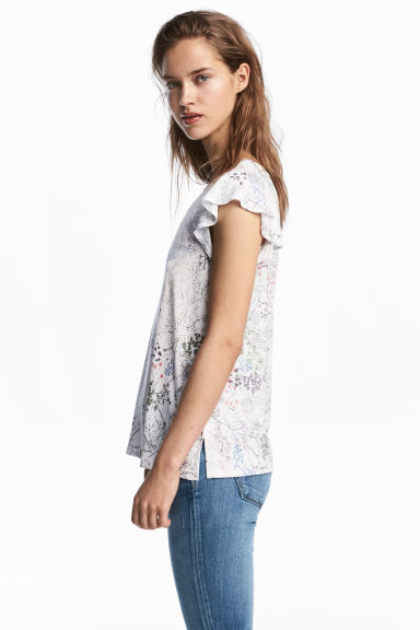 Jersey top - White/Floral - Ladies | H&M 1