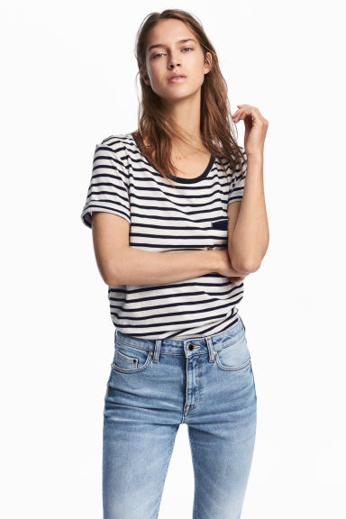 Striped jersey top - White/Black striped - Ladies | H&M CA 1