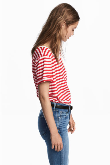 平紋細肩帶上衣 - Red/White - Ladies | H&M 1