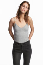 Strappy V-neck jersey top - Grey marl - Ladies | H&M 1
